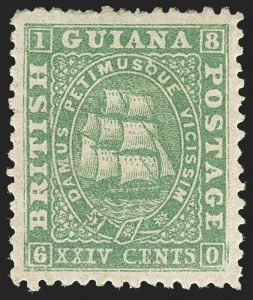 Sale Number 1143, Lot Number 3152, British GuianaBRITISH GUIANA, 1862-65, 24c Green, Perf 12-1/2-13 (33; SG 56), BRITISH GUIANA, 1862-65, 24c Green, Perf 12-1/2-13 (33; SG 56)