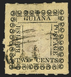 Sale Number 1143, Lot Number 3153, British GuianaBRITISH GUIANA, 1862, 2c Black on Yellow, Wrong Ornament at Top (39 var; SG 120c), BRITISH GUIANA, 1862, 2c Black on Yellow, Wrong Ornament at Top (39 var; SG 120c)