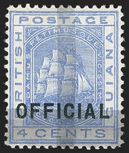 Sale Number 1143, Lot Number 3156, British GuianaBRITISH GUIANA, 1878, (1c) on 4c Ultramarine (85; SG 144), BRITISH GUIANA, 1878, (1c) on 4c Ultramarine (85; SG 144)