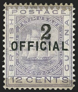 Sale Number 1143, Lot Number 3157, British GuianaBRITISH GUIANA, 1881, 2c on 12c Lilac (98; SG 156), BRITISH GUIANA, 1881, 2c on 12c Lilac (98; SG 156)