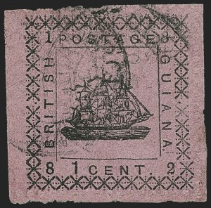"Sale Number 1143, Lot Number 3158, British GuianaBRITISH GUIANA, 1882, 1c Black on Lilac Rose, Ship with Three Masts, Without Perforated ""Specimen"" (103b; SG 164a), BRITISH GUIANA, 1882, 1c Black on Lilac Rose, Ship with Three Masts, Without Perforated ""Specimen"" (103b; SG 164a)"