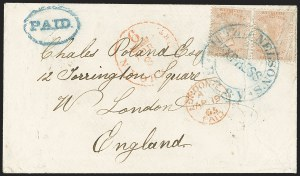 Sale Number 1143, Lot Number 3165, Canadian Provinces - British Columbia thru New BrunswickBRITISH COLUMBIA & VANCOUVER ISLAND, 1860, 2-1/2p Dull Rose, Perforated 14 (2; SG 3), BRITISH COLUMBIA & VANCOUVER ISLAND, 1860, 2-1/2p Dull Rose, Perforated 14 (2; SG 3)