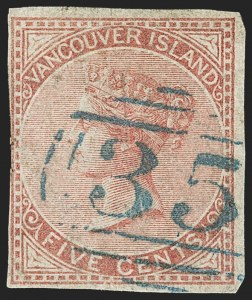 Sale Number 1143, Lot Number 3166, Canadian Provinces - British Columbia thru New BrunswickBRITISH COLUMBIA & VANCOUVER ISLAND, 1865, 5c Rose (3, SG 11), BRITISH COLUMBIA & VANCOUVER ISLAND, 1865, 5c Rose (3, SG 11)