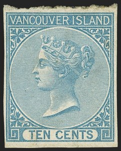 Sale Number 1143, Lot Number 3167, Canadian Provinces - British Columbia thru New BrunswickBRITISH COLUMBIA & VANCOUVER ISLAND, 1865, 10c Blue, Imperforate (4; SG 12), BRITISH COLUMBIA & VANCOUVER ISLAND, 1865, 10c Blue, Imperforate (4; SG 12)