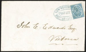 Sale Number 1143, Lot Number 3169, Canadian Provinces - British Columbia thru New BrunswickBRITISH COLUMBIA & VANCOUVER ISLAND, 1865, 3p Pale Blue (7a; SG 22), BRITISH COLUMBIA & VANCOUVER ISLAND, 1865, 3p Pale Blue (7a; SG 22)