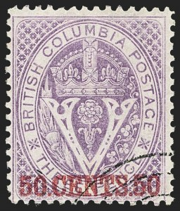 Sale Number 1143, Lot Number 3170, Canadian Provinces - British Columbia thru New BrunswickBRITISH COLUMBIA & VANCOUVER ISLAND, 1867-69, 50c on 3p Violet, Perforated 14 (12; SG 32), BRITISH COLUMBIA & VANCOUVER ISLAND, 1867-69, 50c on 3p Violet, Perforated 14 (12; SG 32)