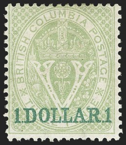 Sale Number 1143, Lot Number 3171, Canadian Provinces - British Columbia thru New BrunswickBRITISH COLUMBIA & VANCOUVER ISLAND, 1867-69, $1.00 on 3p Green, Perforated 14 (13; SG 33), BRITISH COLUMBIA & VANCOUVER ISLAND, 1867-69, $1.00 on 3p Green, Perforated 14 (13; SG 33)