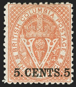 Sale Number 1143, Lot Number 3172, Canadian Provinces - British Columbia thru New BrunswickBRITISH COLUMBIA & VANCOUVER ISLAND, 1869, 5c on 3p Bright Red, Perforated 12-1/2 (14; SG 23), BRITISH COLUMBIA & VANCOUVER ISLAND, 1869, 5c on 3p Bright Red, Perforated 12-1/2 (14; SG 23)