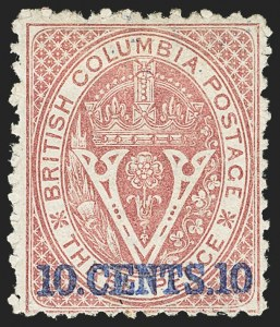 Sale Number 1143, Lot Number 3173, Canadian Provinces - British Columbia thru New BrunswickBRITISH COLUMBIA & VANCOUVER ISLAND, 1869 10c on 3p Lilac Rose, Perf 12-1/2 (15; SG 24), BRITISH COLUMBIA & VANCOUVER ISLAND, 1869 10c on 3p Lilac Rose, Perf 12-1/2 (15; SG 24)