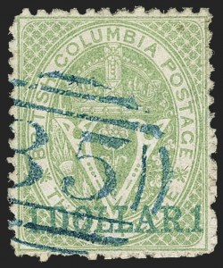 Sale Number 1143, Lot Number 3174, Canadian Provinces - British Columbia thru New BrunswickBRITISH COLUMBIA & VANCOUVER ISLAND, 1867-69, $1.00 on 3p Green, Perf 12-1/2 (18; SG 27), BRITISH COLUMBIA & VANCOUVER ISLAND, 1867-69, $1.00 on 3p Green, Perf 12-1/2 (18; SG 27)