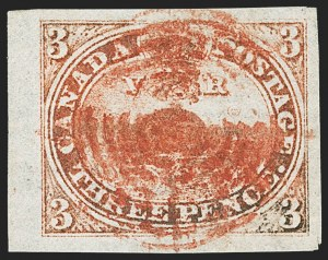 Sale Number 1143, Lot Number 3208, Canada - Pence and Cents IssuesCANADA, 1851, 3p Red, Laid Paper (1; SG 1), CANADA, 1851, 3p Red, Laid Paper (1; SG 1)