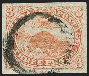 Sale Number 1143, Lot Number 3209, Canada - Pence and Cents IssuesCANADA, 1851, 3p Orange Vermilion, Laid Paper (1a; SG 1a), CANADA, 1851, 3p Orange Vermilion, Laid Paper (1a; SG 1a)
