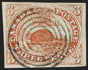 Sale Number 1143, Lot Number 3211, Canada - Pence and Cents IssuesCANADA, 1851, 3p Orange Vermilion, Laid Paper (1a; SG 1a), CANADA, 1851, 3p Orange Vermilion, Laid Paper (1a; SG 1a)