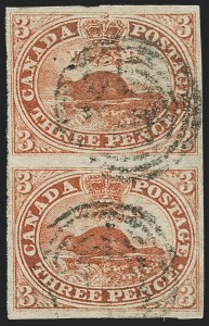Sale Number 1143, Lot Number 3216, Canada - Pence and Cents IssuesCANADA, 1852, 3p Scarlet Vermilion, Thin Paper (Unitrade 4xi), CANADA, 1852, 3p Scarlet Vermilion, Thin Paper (Unitrade 4xi)