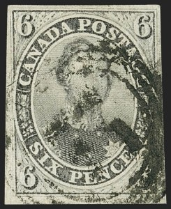 Sale Number 1143, Lot Number 3219, Canada - Pence and Cents IssuesCANADA, 1857, 6p Gray Violet, Thick Hard Paper (5d; SG 19), CANADA, 1857, 6p Gray Violet, Thick Hard Paper (5d; SG 19)
