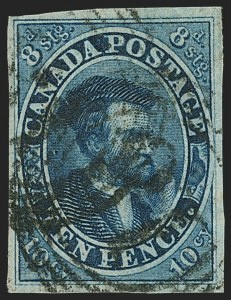 Sale Number 1143, Lot Number 3220, Canada - Pence and Cents IssuesCANADA, 1855, 10p Blue (7; SG 15), CANADA, 1855, 10p Blue (7; SG 15)