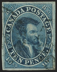 Sale Number 1143, Lot Number 3221, Canada - Pence and Cents IssuesCANADA, 1855, 10p Blue (7; SG 15), CANADA, 1855, 10p Blue (7; SG 15)