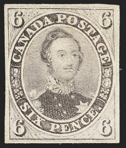 Sale Number 1143, Lot Number 3223, Canada - Pence and Cents IssuesCANADA, 1857, 6p Reddish Purple, Very Thick Soft Wove (10; SG 23), CANADA, 1857, 6p Reddish Purple, Very Thick Soft Wove (10; SG 23)
