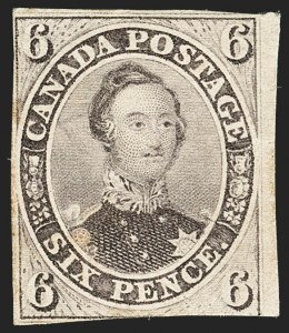 Sale Number 1143, Lot Number 3224, Canada - Pence and Cents IssuesCANADA, 1857, 6p Reddish Purple, Very Thick Soft Wove (10; SG 23), CANADA, 1857, 6p Reddish Purple, Very Thick Soft Wove (10; SG 23)