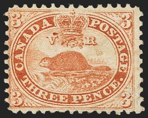 Sale Number 1143, Lot Number 3225, Canada - Pence and Cents IssuesCANADA, 1858, 3p Red, Perf 12 (12; SG 26), CANADA, 1858, 3p Red, Perf 12 (12; SG 26)