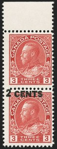 Sale Number 1143, Lot Number 3269, Canada - Maple Leaf thru Modern and Back-of-BookCANADA, 1926, 2c on 3c Carmine, Pair, One Without Surcharge (139a; SG 264a), CANADA, 1926, 2c on 3c Carmine, Pair, One Without Surcharge (139a; SG 264a)