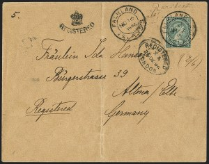 Sale Number 1143, Lot Number 3320, Falkland Islands thru FijiFALKLAND ISLANDS, 1878-79, 6p Green (3; SG 3), FALKLAND ISLANDS, 1878-79, 6p Green (3; SG 3)