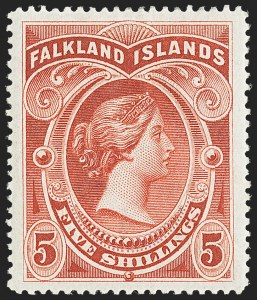 Sale Number 1143, Lot Number 3321, Falkland Islands thru FijiFALKLAND ISLANDS, 1898 2sh6p Dark Blue, 5sh Brown Red (20-21; SG 41-42), FALKLAND ISLANDS, 1898 2sh6p Dark Blue, 5sh Brown Red (20-21; SG 41-42)