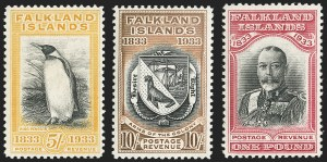 Sale Number 1143, Lot Number 3322, Falkland Islands thru FijiFALKLAND ISLANDS, 1933, -1/2p-£1 Tercentenary (65-76; SG 127-38), FALKLAND ISLANDS, 1933, -1/2p-£1 Tercentenary (65-76; SG 127-38)