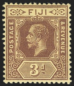 Sale Number 1143, Lot Number 3328, Falkland Islands thru FijiFIJI, 1914, 3p Purple on Yellow, Sideways Watermark (SG 130a), FIJI, 1914, 3p Purple on Yellow, Sideways Watermark (SG 130a)