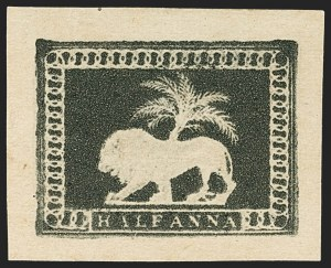 Sale Number 1143, Lot Number 3349, India - 1852 Scinde Dawk thru 1854 Lithograph IssuesINDIA, 1854, -1/2a Lion & Palm Tree Essay, INDIA, 1854, -1/2a Lion & Palm Tree Essay