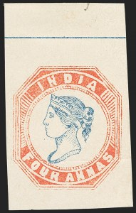 Sale Number 1143, Lot Number 3353, India - 1852 Scinde Dawk thru 1854 Lithograph IssuesINDIA, 1854, 4a Red & Blue, Essay (Spence 5), INDIA, 1854, 4a Red & Blue, Essay (Spence 5)