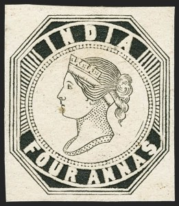 Sale Number 1143, Lot Number 3354, India - 1852 Scinde Dawk thru 1854 Lithograph IssuesINDIA, 1854, 4a Black, Proof (Spence 6a), INDIA, 1854, 4a Black, Proof (Spence 6a)
