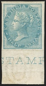 Sale Number 1143, Lot Number 3363, India - 1855-64 De la Rue Issues, UnwatermarkedINDIA, 1855-64, -1/2a Blue, Imperforate (SG 37a; Scott 11a), INDIA, 1855-64, -1/2a Blue, Imperforate (SG 37a; Scott 11a)