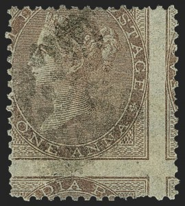 Sale Number 1143, Lot Number 3364, India - 1855-64 De la Rue Issues, UnwatermarkedINDIA, 1855-64, 1a Brown on Bluish Paper (SG 39 var; Scott 12 var), INDIA, 1855-64, 1a Brown on Bluish Paper (SG 39 var; Scott 12 var)