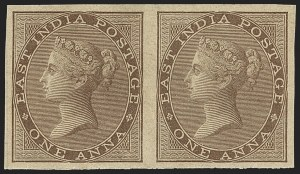 Sale Number 1143, Lot Number 3365, India - 1855-64 De la Rue Issues, UnwatermarkedINDIA, 1855-64, 1a Brown, Imperforate (SG 39b; Scott 12a), INDIA, 1855-64, 1a Brown, Imperforate (SG 39b; Scott 12a)