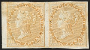 Sale Number 1143, Lot Number 3366, India - 1855-64 De la Rue Issues, UnwatermarkedINDIA, 1855-64, 2a Buff, Imperforate (SG 42a; Scott 15b), INDIA, 1855-64, 2a Buff, Imperforate (SG 42a; Scott 15b)