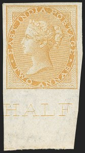 Sale Number 1143, Lot Number 3367, India - 1855-64 De la Rue Issues, UnwatermarkedINDIA, 1855-64, 2a Buff, Imperforate (SG 42a; Scott 15b), INDIA, 1855-64, 2a Buff, Imperforate (SG 42a; Scott 15b)