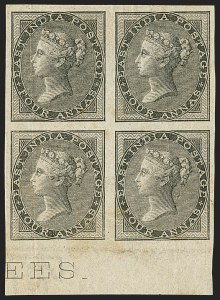 Sale Number 1143, Lot Number 3368, India - 1855-64 De la Rue Issues, UnwatermarkedINDIA, 1855-64, 4a Black, Imperforate (SG 45b; Scott 16a), INDIA, 1855-64, 4a Black, Imperforate (SG 45b; Scott 16a)