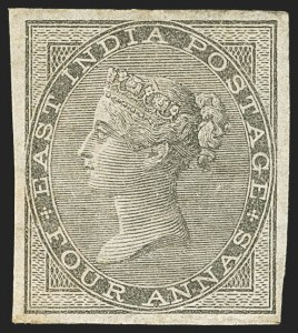 Sale Number 1143, Lot Number 3369, India - 1855-64 De la Rue Issues, UnwatermarkedINDIA, 1855-64, 4a Black, Imperforate (SG 45b; Scott 16a), INDIA, 1855-64, 4a Black, Imperforate (SG 45b; Scott 16a)