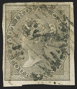 Sale Number 1143, Lot Number 3370, India - 1855-64 De la Rue Issues, UnwatermarkedINDIA, 1855-64, 4a Black, Imperforate (SG 45b; Scott 16a), INDIA, 1855-64, 4a Black, Imperforate (SG 45b; Scott 16a)