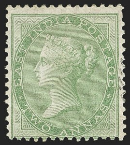 Sale Number 1143, Lot Number 3371, India - 1855-64 De la Rue Issues, UnwatermarkedINDIA, 1855-64, 2a Yellow Green, Unissued (SG 50; Scott 14), INDIA, 1855-64, 2a Yellow Green, Unissued (SG 50; Scott 14)