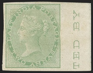 Sale Number 1143, Lot Number 3373, India - 1855-64 De la Rue Issues, UnwatermarkedINDIA, 1855-64, 2a Yellow Green, Imperforate (SG 50a; Scott 14a), INDIA, 1855-64, 2a Yellow Green, Imperforate (SG 50a; Scott 14a)