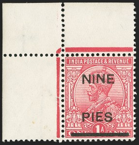 Sale Number 1143, Lot Number 3398, India - King Edward VII to DateINDIA, 1921, 9p on 1a Rose, Essay Surcharges (SG 192E; Scott 104E), INDIA, 1921, 9p on 1a Rose, Essay Surcharges (SG 192E; Scott 104E)