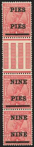 "Sale Number 1143, Lot Number 3399, India - King Edward VII to DateINDIA, 1921, 9p on 1a Rose, Surcharged ""PIES PIES"" and ""NINE NINE"" (SG 192, 192a, 192b; Scott 104, 104a, 104b), INDIA, 1921, 9p on 1a Rose, Surcharged ""PIES PIES"" and ""NINE NINE"" (SG 192, 192a, 192b; Scott 104, 104a, 104b)"