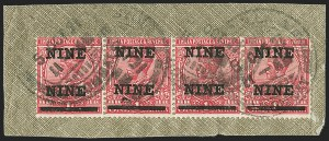 "Sale Number 1143, Lot Number 3400, India - King Edward VII to DateINDIA, 1921, 9p on 1a Rose, Surcharged ""NINE-NINE"" (SG 192a; Scott 104a), INDIA, 1921, 9p on 1a Rose, Surcharged ""NINE-NINE"" (SG 192a; Scott 104a)"