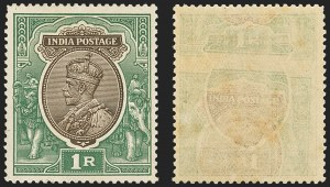 Sale Number 1143, Lot Number 3401, India - King Edward VII to DateINDIA, 1926-36, 1r Green & Brown, Printed on Both Sides (SG 214 var; Scott 120 var), INDIA, 1926-36, 1r Green & Brown, Printed on Both Sides (SG 214 var; Scott 120 var)
