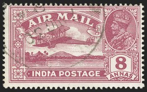 "Sale Number 1143, Lot Number 3402, India - King Edward VII to DateINDIA, 1929-30, 8a Red Violet, Reversed Serif of ""I"" in ""India"" (SG 224b; Scott C5 var), INDIA, 1929-30, 8a Red Violet, Reversed Serif of ""I"" in ""India"" (SG 224b; Scott C5 var)"