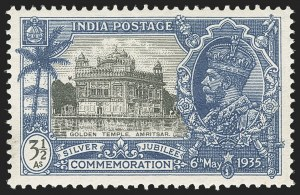 "Sale Number 1143, Lot Number 3405, India - King Edward VII to DateINDIA, 1935, 3-1/2a Blue & Black, ""Bird Flaw"" (SG 245a; Scott 147 var), INDIA, 1935, 3-1/2a Blue & Black, ""Bird Flaw"" (SG 245a; Scott 147 var)"