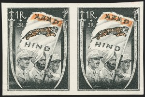 "Sale Number 1143, Lot Number 3410, India - King Edward VII to DateINDIA, 1943, 1r + 2r Azad Hind ""Free India"" Stamps, INDIA, 1943, 1r + 2r Azad Hind ""Free India"" Stamps"