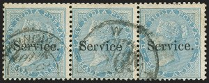 Sale Number 1143, Lot Number 3412, India - OfficialsINDIA, 1866, -1/2a Blue, Official, Without Period (SG O7c; Scott O5b), INDIA, 1866, -1/2a Blue, Official, Without Period (SG O7c; Scott O5b)